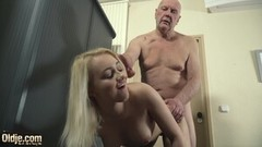 Hot nurse gives handjob and blowjob to grandpa Thumb