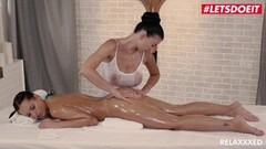 LETSDOEIT - Lucy Li On Oiled Lesbian Massage Lust Thumb